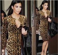 2015 New Women Long Sleeve hollow out sexy leopard dress night club dress Pencil Bodycon Party Ladies XXL plus size Dress