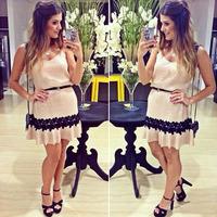 2015 white lace patchwork dress cute vestidos bandage Women dress vestidos ruffles hem sexy summer spaghetti strap dress