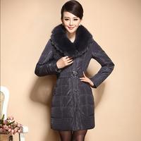 Fashion luxury fox large fur collar slim medium-long down coat female xa-b1221