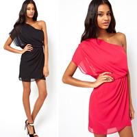 2015 new summer fashion women one-shoulder mini Chiffon Dress