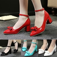 Fashion 2015 Brand Womens Pumps Patent Leather Bowtie Chunky Heels Womens High Heels Spring Ladies Shoes Wholesales