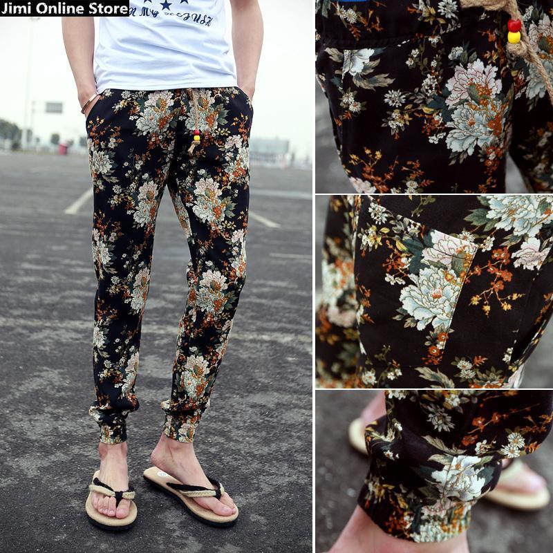 Мужские штаны Jimi 2015 jogger pantalones floral jogger pants linen cotton material