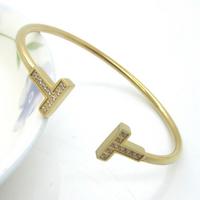 Three Color titanium steel punk style Crystal Bracelets bangles for women