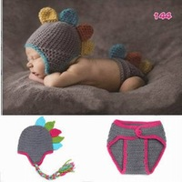 Grey Dinosaur Baby Photo Props Hat + Short Costume Outfits Newborn 0-6 month Crochet Beanies Photography Props Knitted Infant
