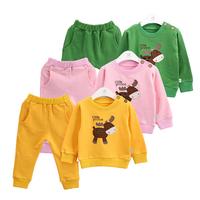New Arrival Children Clothing Sets Spring Baby Boys Girls Clothing Set Cartoon Deer Baby Shirt + Pants 2 pcs sets