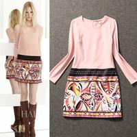 Paris Fashion Week Womens Cute Pink Printing Long Sleeve Straight Cocktail Dress Free Shipping 2212