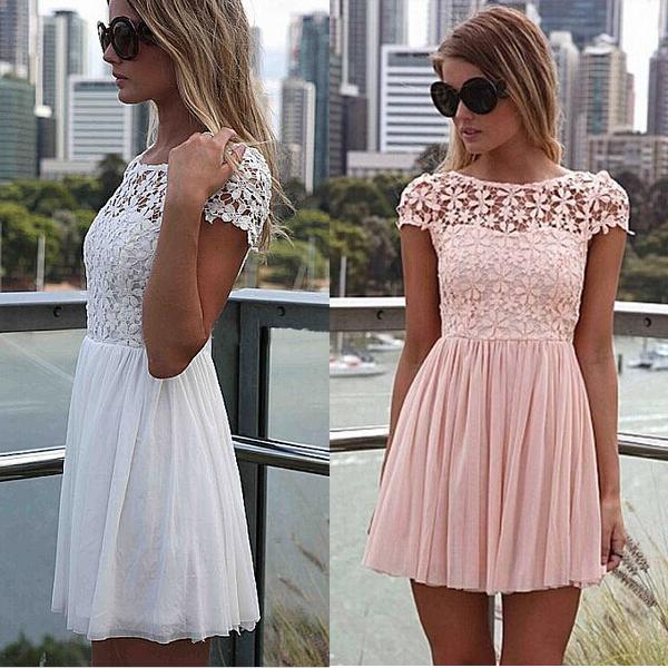 Siebel lace party mini dress 2015 new prom summer women dresses solid pink vestido de renda short sleeve lace crochet vestidos(China (Mainland))