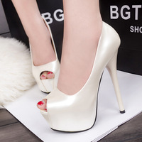 2015 Hot Leather Fish Mouth High-heeled Shoes Woman Sexy Shoes Gift Women Shoes 8.5