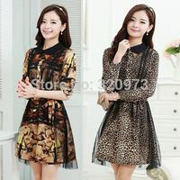 M-XXL size fashion ladies dress 2015 new korean style plus size long sleeve women flower print mesh dress free shipping