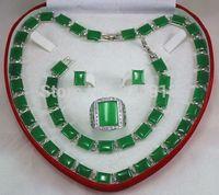 green jade Bracelet/ Earrings /Ring / Necklace Set Handcrafted Jewelry free boxA2
