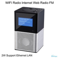 WIFI Radio Internet Web FM Radios 2W RMS Support  LAN Port  MP3 WMA Format > 10000 Programs Black Free Shipping