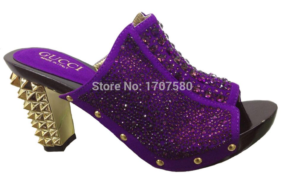 Free Shipping!! Africa 2015 pueple sandal woman fashion nice high heel shoes leather rhinestone shoe and bag set CQ10256(China (Mainland))