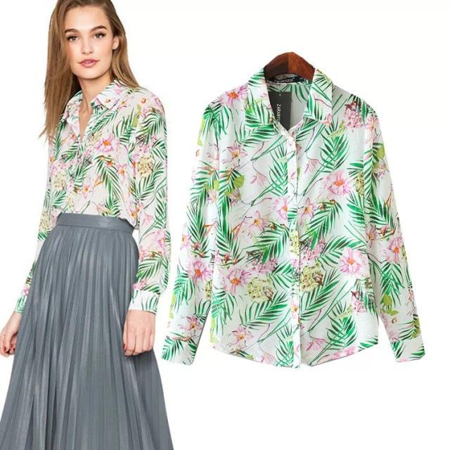wholesale woman clothes 2015 new design fashion european style leaf print blusas feminina chiffon blouse(China (Mainland))
