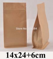 14*24+6cm Flat bottom stand up ziplock kraft bag  5.5''*9.5'' bellow zipper kraft bag coffee tea nuts kraft paper bag,100pcs/lot