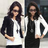 Cozy women clothes Shawl Coat Comfortable leisure slim Wild suit Ms. jacket lady blazers black white jacket coat