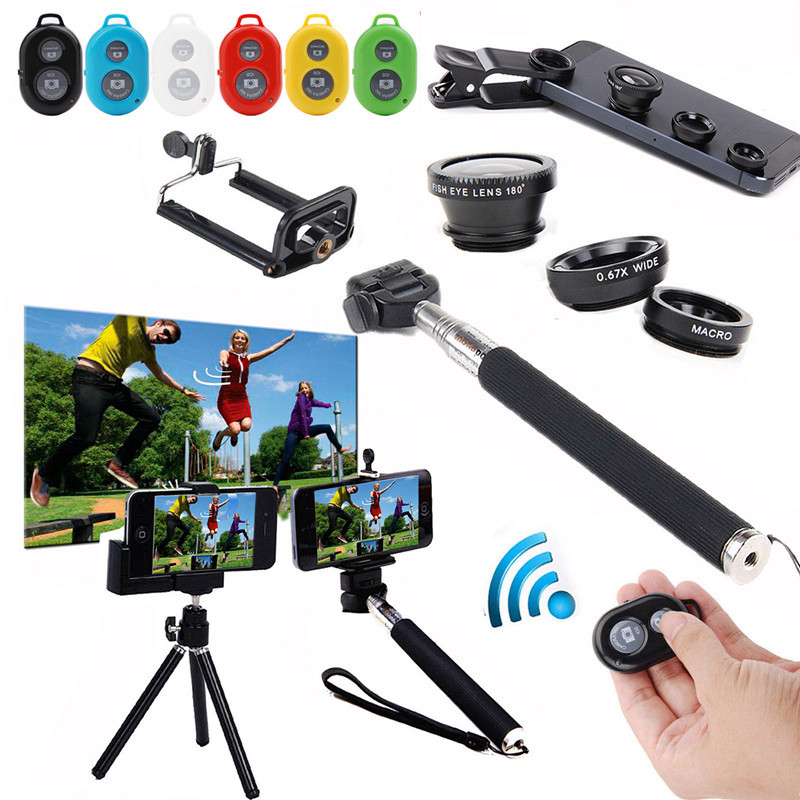 6 in 1 photo kit for iPhone Samsung LG Phone Bluetooth Camera Control+Selfie Monopod/Tripod/Holder +Wide Marco Fish Eye Lens(China (Mainland))
