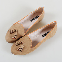 spring new slippers woman fashion shoes double tassels flats wholesale low heels flock upper leather linings