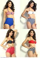 new items girls swimwear high waist bikini set Dot and Stripes Print push up Bikini Set  bathing suits beachwear