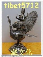 "11 "" Tibetan Buddhist bronze coated silver antique Mahamayuri buddha statue 28 cm tall"