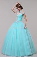 rhinestone beading light blue/light purple Medieval dress Renaissance gown Sissi princess Victorian cosplay Belle Ball gown