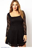 new arrival woman fashion 2015 autumn dress Plus Size vestido renda little Black Lace Overlay long sleeve Skater Dresses LC21765