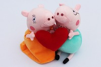 9inch 23cm Cartoon Peppa Pig Daddy Mommy pig with love heart plush toy to lover best gift Valentine's day 2pcs/lot free shipping