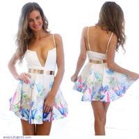 Elegant Plunge Print Skater Dress LC21850