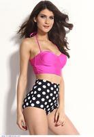 maillot de bain Women swimwear Vintage high waist bikini Retro Pink Top Black White Polka Dot Bikini cute bathing suits