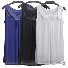 Free shipping latest explosion models 2015 summer loose Korean Rhinestone Net Yarn vest women wild backing shirt cheap wholesale(China (Mainland))