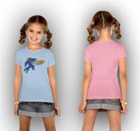 6Pieces/lot New 2015 Big Hero 6 T Shirt Girls Top T-shirt For Kids Clothes Summer Cartoon Pink Blue Children Clothing DA619