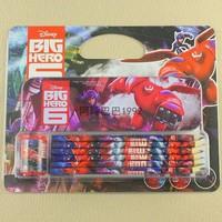 Fashion Cartoon Big Hero 6 Baymax Pencil Set stationery School Articles Gifts 20sets/lot for colour pencil,pencil box,sharpener