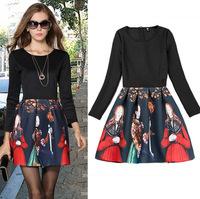 New high quality Clothing 2015 Spring Print Women Dress O-Neck Casual Vestidos Long Sleeve Club Mini Dresses