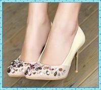 pointed toe Pumps Womens Rhinestone Wedding Shoes Ladies Sexy pumps Stiletto nude High Heels Sapato Feminino dress shoes C915