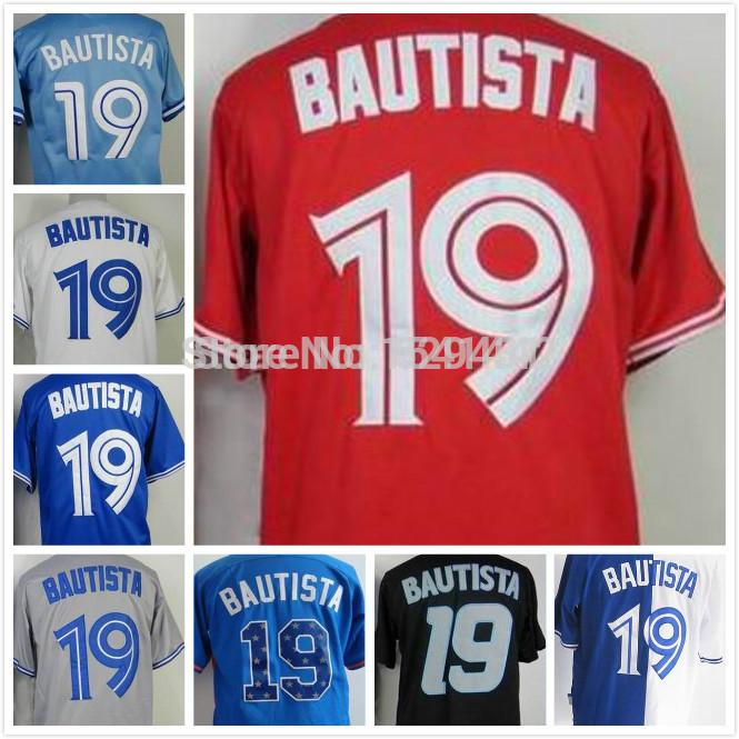 2015 Jose Bautista. Canada. Molitor Jersey #19 Toronto Baseball Jerseys Split blue,white,black,grey,red Free Shipping(China (Mainland))