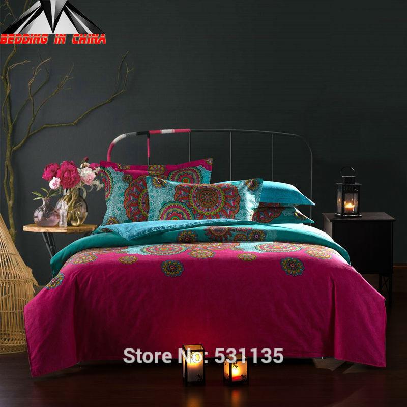 Luxury pink blue flowers bedding set 100%cotton endless pattern 4pcs bedsheet bed duvet quilt cover queen size comforter linen(China (Mainland))