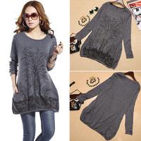New T Shirt Women 2015 Long Sleeve Loose TopsTree Print Cotton Plus Size Casual T-shirt Rhinestone Fashion Blusas Women Clothing