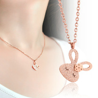 18K Rose Gold Plated Titanium Steel Frosted Rabbit Pendant Necklace Fashion Brand Jewelry for Women Free Shipping (GN044)