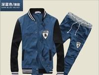 2015 New Spring Deer Sweater Korean Version Popular Men's Casual Baseball Nniform Slim Sports Suit men's sets