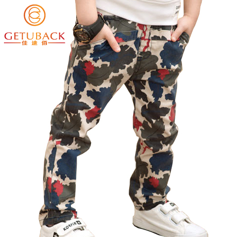 2015 New Boys Camouflage Pants Spring & Autumn Kids Cotton Elastic Waist Trousers Children Straight Pants Outerwear, HC287(China (Mainland))