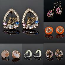 2015 Fashion Earrings for Women Gold Plated Rhinestone Crystal Eardrop Hook Stud Earrings Ear Brincos Jewelry Women Gift