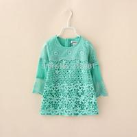 2015 Girl's autumn lace long sleeve dress , dress baby , kids party dresses , 6pcs/lot    FJP69