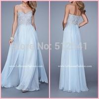 2015 Elegant and Sophisticated Sweetheart Appliqued Floor Length Chiffon Prom Dresses Sexy Evening Dress vestido de festa longo