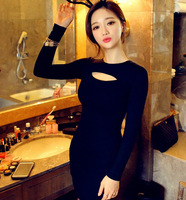 Black Women spring and autumn Long Sleeve Casual Dresses New Fashion 2015 mini Bodycon  Hollow Out Sexy party club Dress