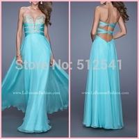 2015 Sexy Sweetheart A-line Appliqued Floor Length Chiffon Prom Dress Criss Cross Back Sexy Evening Dress vestido de festa longo
