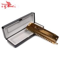 Swan 16 hole 64 tone Chromatic Harmonica, Golden,Laser Print Free shipping