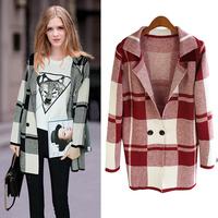 Women coat 2015 new autumn plaid Knitwear outwear cardigan long section geometry wild thin coat