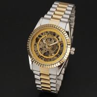 2015 Original Winner Brand Men Classic Hollow Skeleton Automatic Mechanical Business Watch Full Steel Analog Wristwatch Relogio