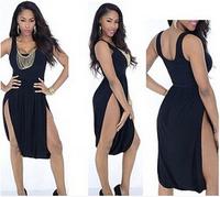 2015 New women summer party black vest dress ladies club fashion slit dresses casual vestidos design KF026 S M L