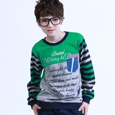 Fashion male child spring child long-sleeve T-shirt cotton child spring o-neck plus size boys clothing 170(China (Mainland))