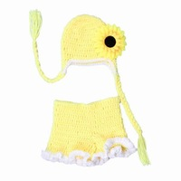 Sale Handmade Photography Props Yellow set Newborn Handmade Baby Animal Costume Knitted Infant Suit Beanie Crochet Hats Short
